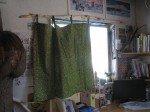 Rideau côté bureau, dans du tissu ramené du Togo il y a quelques années.