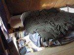 """Nous avons """"bouché"""" l'espace à la gauche du lit, laissant juste assez d'espace pour grimper. Plus de place, et moins de risque de tomber!"""