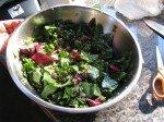 Salade du chef: Mixed greens, épinards, graines de sézame et de tournesol, tometes séchées, avocat, quinoa, canneberge sechée. Un régal!!