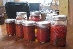 Conserve de sauce tomate et tomates entières (arromatisées avec nos herbes). Du boulot, mais ça en vaut la peine!