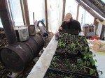 Dans la serre. Matt plante quelques graines de légumes en plateau, sous l'oeil attentif de Timothy.