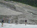 Petite marche sur Root Glacier. Très glissant cette fois-ci, nous devons faire demi-tour faute de crampons.