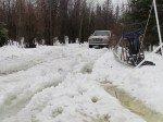 La vraie bouillasse de neige, de l'eau plus haut que les chevilles, les bottes en caoutchouc sont de sortie!